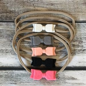 Other - Brand New Set of 5 Soft Felt Baby Girl Headbands